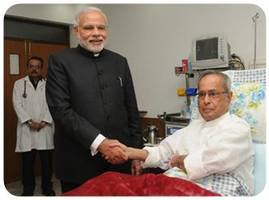 PM Modi meets President Pranab Mukherjee at hospital